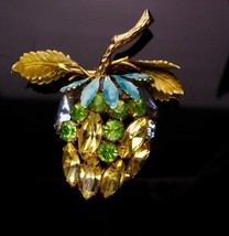 Vintage Alice Caviness Brooch - yellow fruit - rhinestone estate jewelry... - $110.00