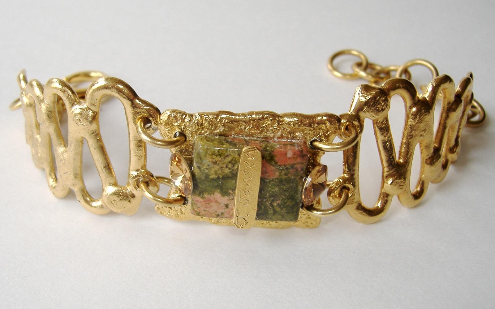 Amber Swarovski Crystal Pink Green Semi Precious Stone Bracelet Unique Gold