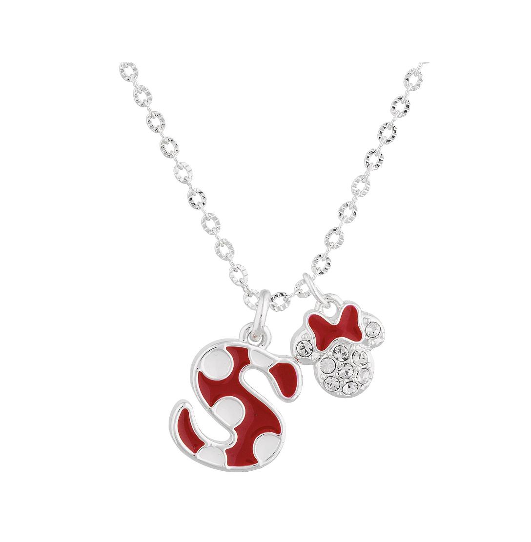 Disney Parks Minnie Polka Dot Initial S Letter Necklace Swarovski Crystal Charm