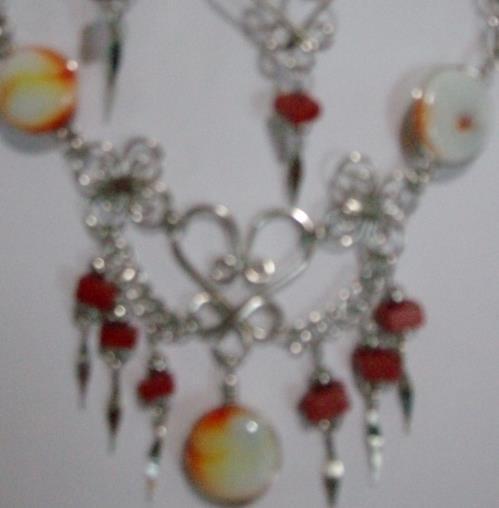 Orange- Tri Alpaca Necklace & Earring Set