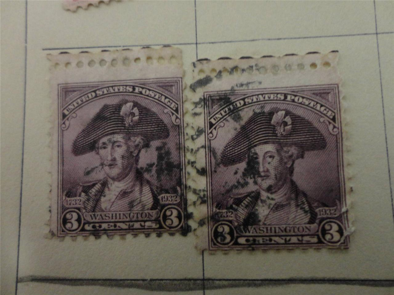 Lot of 6 Vintage 1932 US Postage Stamp Washington 2c Rose 3c Violet