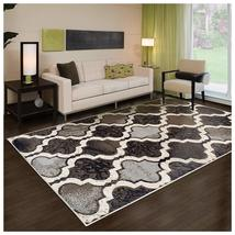 Modern Viking Chocolate Geometric Trellis Design 8' x 10' Rug Water Repe... - $123.95