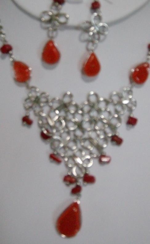 Orange Alpaca Necklace & Earring Set (WK- 9)