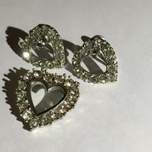 Vintage Silver Rhinestone Heart Pin & Screw Back Earrings - $27.72