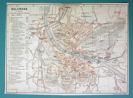 "1905 MAP Baedeker - AUSTRIA Salzburg on Danube Town Plan 6 x 8"" (15 x 20... - $6.71"
