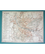 "1905 MAP Baedeker - AUSTRIA Salzburg on Danube Town Plan 6 x 8"" (15 x 20... - $6.71"