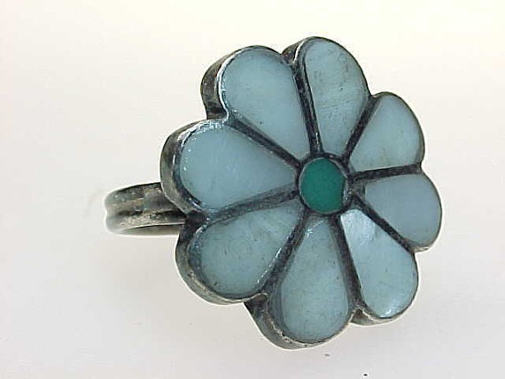 Primary image for Vintage MOTHER of pEARL and TURQUOISE Flower RING in Sterling Silver  Size 5 1/2