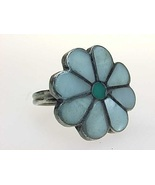 Vintage MOTHER of pEARL and TURQUOISE Flower RING in Sterling Silver  Si... - $50.00