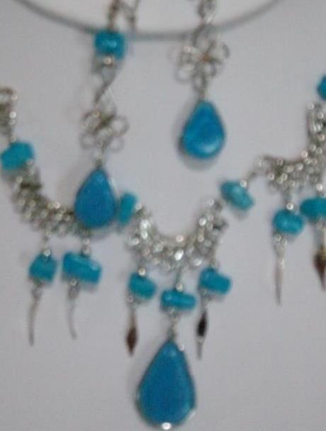 Sky Blue Alpaca Necklace & Earring Set (WK- 8)