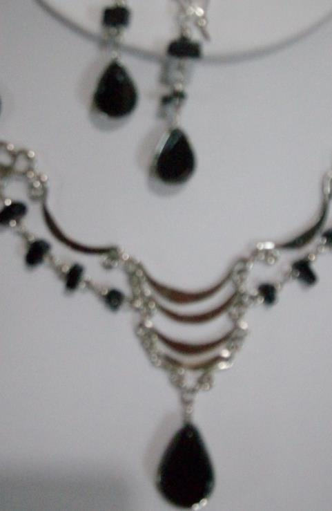 Black Alpaca Necklace & Earring Set (WK- 7)