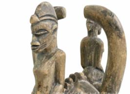 "Vintage Antique African Style 18"" Wood Ceremonial Helmet Mask Art image 3"