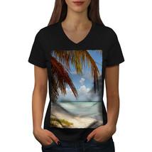 Sunny Sandy Beach Shirt Palm Trees Women V-Neck T-shirt - $12.99+