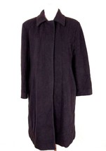 DKNY Womens Trench Coat 14 Chocolate Brown Wool Blend Long Peacoat Made ... - $89.09