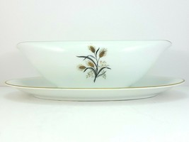 "Noritake Wheatcroft 5852 Gravy Boat with Underplate 8"" White and Gold - $14.85"