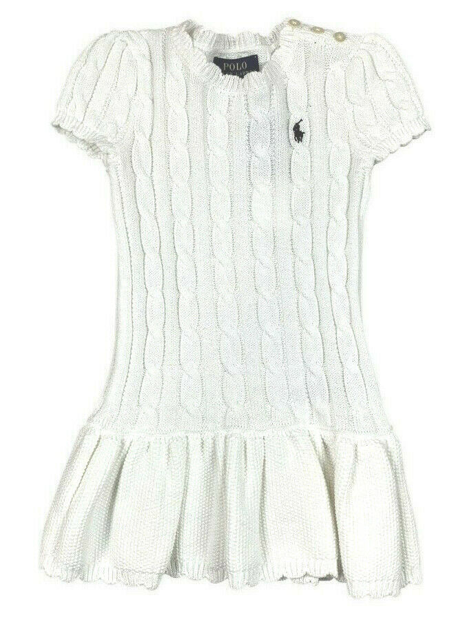 Polo Ralph Lauren Girls Cream White Cable Knit Peplum Sweater Dress 4/4T 9937-1 - $52.46