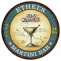 ETHEL'S Martini Bar Round Metal Sign Kitchen Bar Game Wall Décor R14101129 - €22,04 EUR+