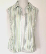 Eddie Bauer Sleeveless Blouse L Button-Down Shirt Pastel Stripes EUC - $13.98