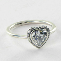 Pandora 190929CZ Ring Heart Cubic Zirconia Sterling Silver Sz 9.25 60 NW... - $48.49