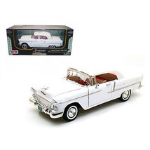 1955 Chevrolet Bel Air Soft Top Convertible White 1/18 Diecast Model Car by M... - $58.73