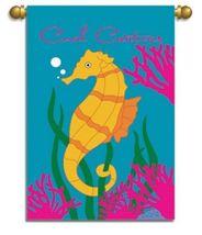 Tropical Coral Creatures Seahorse Garden Flag Banner - $25.76