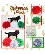 Christmas Flowers for dog collar, Pet Xmas set of 3, Red Green Silver or... - $11.00