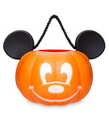 Disney Parks Mickey Pumpkin Halloween Light Up Trick or Treat Bucket New... - ₨1,684.40 INR