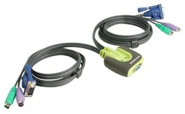 IOGEAR 2-Port MiniView Micro PS/2 KVM Switch with 2 Cables, GCS62 - $40.79