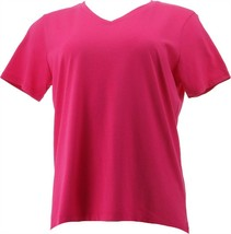 Lands' End Women Petite Relaxed Supima V-Neck Tee Bright Poppy PL NEW 41... - $18.79