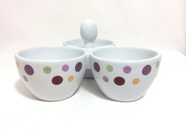 Pampered Chef Simple Additions Dots 3 Bowl Condiments Candy Dip Dish Tri... - ₨1,011.40 INR