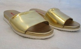 PRADA Gold Metallic Slide Sandals with Rubber Soles - Size 38.5 - $249.99