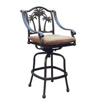Bar height patio set round table 5pc Palm tree cast aluminum furniture barstools image 5