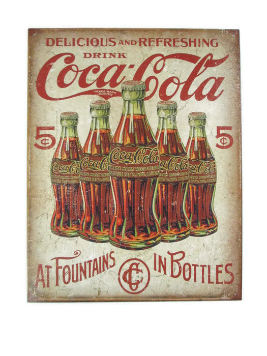 "Coca-Cola  Tin Sign 16"" x 12.5"" Coca-Cola At Fountains In Bottles- BRAND NEW"