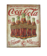"Coca-Cola  Tin Sign 16"" x 12.5"" Coca-Cola At Fountains In Bottles- BRAND... - $13.61"