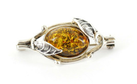 Vintage Sterling Silver Organic Leaf Vine Baltic Green Amber Pin Brooch - $62.99