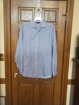 Tommy Hilfiger Blue & White Striped Regular Fit Shirt - Size 16/34 Sleev... - $26.72