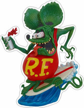 Rat Fink Drinking Surfer Plasma Cut, Big Daddy Ed Roth Metal Sign - $40.00