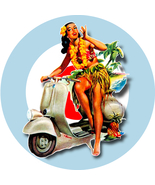 Scooter Girl Aloha Target vinyl sticker scootering Vespa Lambretta mods ... - $3.30