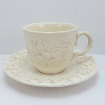 Poppytrail by Metlox Antique Grape Tea Cup and Saucer Ivory Embossed Coffee - $9.03