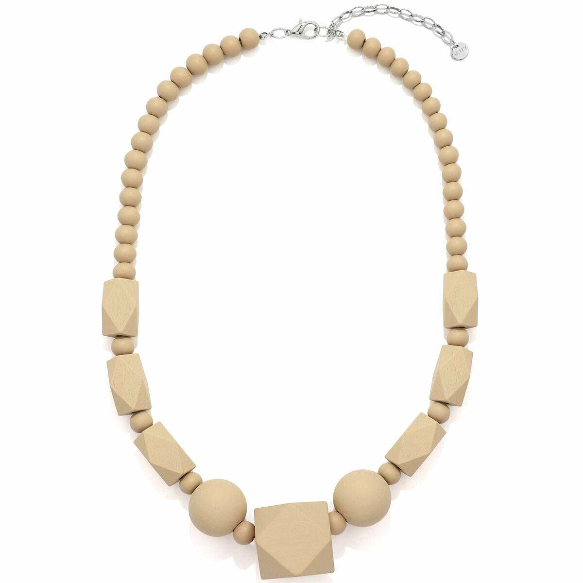 Pastel beige bead necklace made from a lightweight wood fashion jewellery design - $21.85