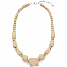 Pastel beige bead necklace made from a lightweight wood fashion jeweller... - $21.85