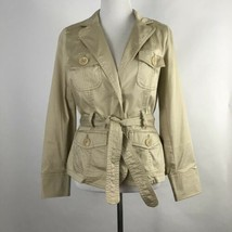 St. Johns Bay Womens Jacket Khaki Long Sleeve Belted Stretch Button Up P... - €24,41 EUR