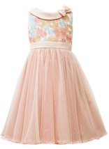 Bonnie Jean Little Girl 4-6X Floral Embroidered Bow Collar Texture Tulle Dress