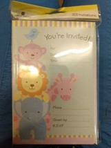 Adorable Zoo Animal Baby Shower Invitations/Envelopes, Sealed Package Of 20 - $6.92