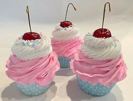 Bubble Gum Cupcakes Set of 3- Pink & Blue Faux Cupcake Fake Decoration Dezicakes - $24.74
