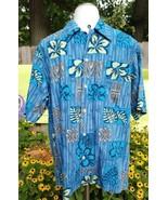 Go Barefoot Mens Flower Floral Print Hawaiian Short Sleeve Shirt Sz M - $20.89
