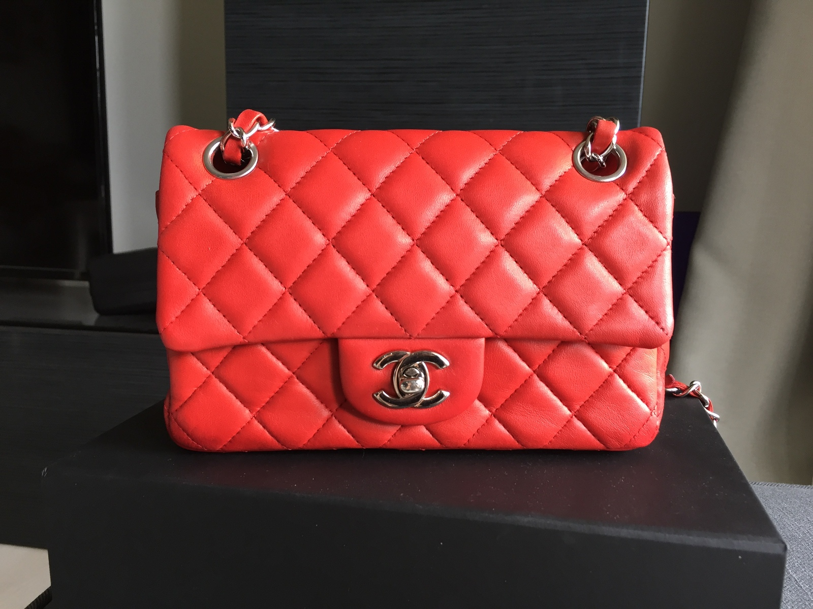 6152c0fe258e Authentic Chanel Red Quilted Lambskin Large Mini Rectangular Flap ...