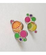 Pink Green Handmade Bubble Earrings Abstract Sterling Silver Pierced Post - $125.00
