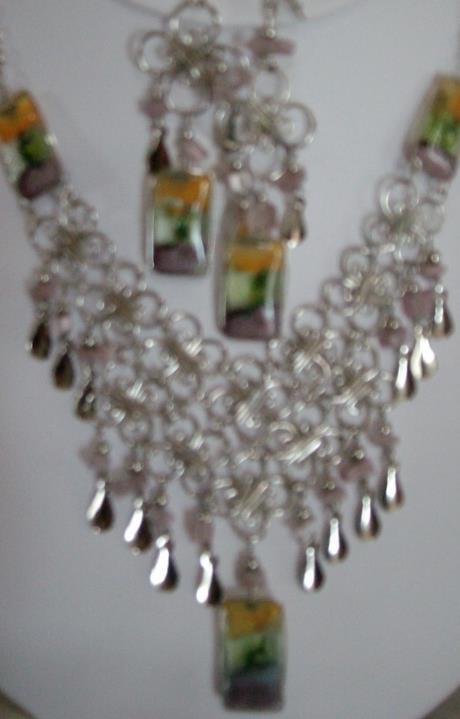 Alpaca Purple-Tri Necklace w Earrings (WK-2)