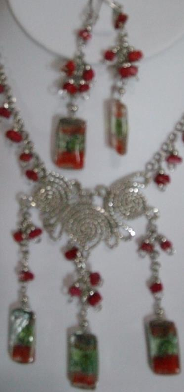 Alpaca Orange-Tri Necklace Set w Earrings (WK-1 )