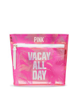 Victoria's Secret PINK Vacay All Day Beauty Cosmetic Travel Bag Jelly PVC Palm - $16.82
